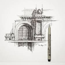 architecture sketches. partial facade sketch architecture dhsketch by dan hogman sketches l
