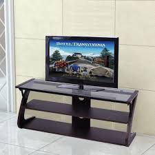 3 tier tempered glass top tv stand entertainment center media console table