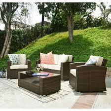thy hom bahia tan 4 piece outdoor wicker conversation set