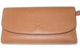 Coach New Authentic Saddle Pebbled Leather Checkbook Wallet F56488 NWT  250