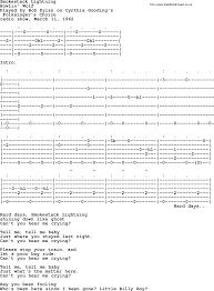 lighting cords. Bob Dylan Song, Lyrics With Chords - Smokestack Lightning Lighting Cords