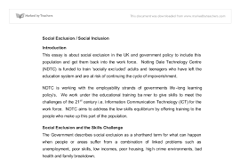 social exclusion social inclusion university social studies  document image preview