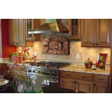 Copper Backsplash For Kitchen Good Directions Tuscan Scene 185 In W X 14 In H Stonecast