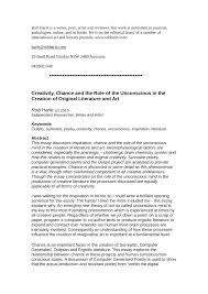 Creativity Essay Pdf Creativity Chance And The Role Of The Unconscious In The