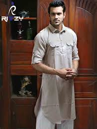 Pakistani Kabli Punjabi Design Light Brown Cotton Slim Fit Semi Long Kabli Shaped Panjabi For Men Mkp 10