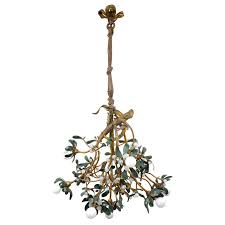 art nouveau bronze mistletoe chandelier for