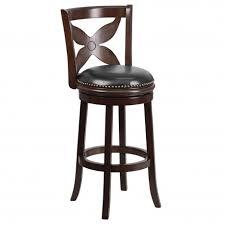 29 cappuccino wood bar stool with black leather swivel seat jpg