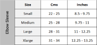 Elbow Sleeve Size Chart Zamst Elbow Sleeve