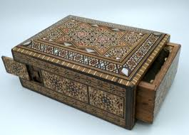 inlaid wooden box with secret compartment circa 1900