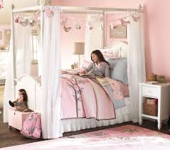 Girls Canopy Bed Modern Fabric Lindsay Decor Romantic With Regard To ...