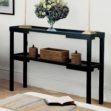 black console table with storage. White Wall Color And Sleek Black Console Table With Storage For Enchanting Home Ideas