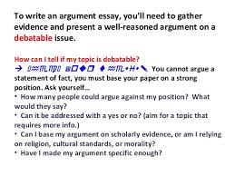 writing an argumentative essay powerpoint lecture on writing argumentative essays ppt