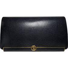 gucci vintage. authentic gucci vintage blue lizard leather frame clutch bag