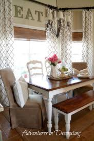 Bay window, farmhouse table, bench, and different chairs. LOVE it ALL! Kitchen  CurtainsKitchen ...