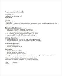 Accountant Resume Format Adorable Resume Format For Accountant Freshers Paymentsblogus