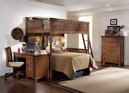 loft with double bed units and desk in rustic style a storage system movable chair light