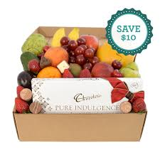 deluxe fruit her with chocs special flowers