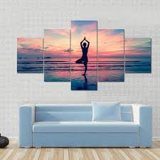 original yoga painting omwoman yoga meditate. Plain Yoga Silhouette Of Woman Standing At Yoga Pose On The Beach Canvas Panel Painting  Tiaracle To Original Omwoman Meditate N