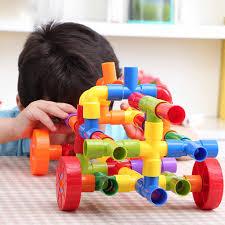 Designer Childrens Toys 72pcs Diy Designer Educational Funny Toys Plastic Pipe Plug