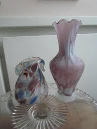 vintage venetian murano italian art glass vases hand blown lot frosted amethist
