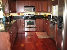 Kitchen With Red Appliances U Shaped Kitchen Layout With Red Brown Color Of Cabinetry Also