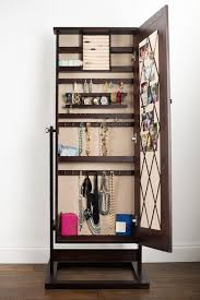 rectangle legs brown jewelry mirror armoire