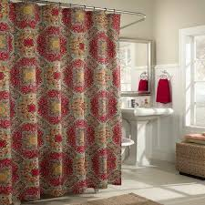 colorful fabric shower curtains. Bathroom Striped Fabric Shower Curtains Ceiling Lamp Simple Sink Corner Red Brown Steel Bar Pole Colorful W