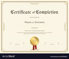 Certificate Of Completeion Certificate Of Completion Template Vintage Theme