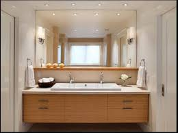 bathroom recessed lighting ideas espresso. The Recessed Lights. A Floating Wood Bathroom Vanity With Ceramic Sink Is Below Large Square Mirror. Contemporary Also Home To Small Lighting Ideas Espresso C