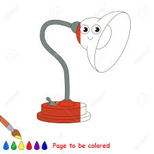 Funny Red Table Lamp The Coloring Book To Educate Preschool