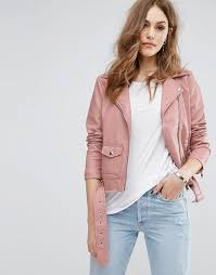 warehouse warehouse leather look biker jacket women pink