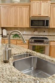 giallo ornamental granite countertop with stainless steel undermount sink
