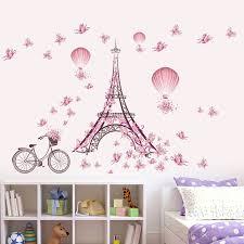 eiffel tower pink erfly vinyl wall sticker decal diy nursery kids room decor