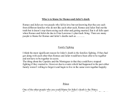 who is to blame for romeo and juliet s death gcse english  document image preview