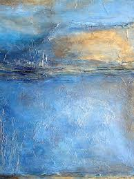 triptych painting transcend abstract blue brown and gold textured painting by holly anderson