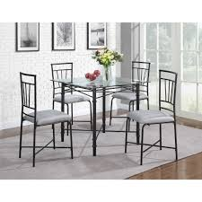 Metal Glass Dining Table Dorel Living 5 Piece Delphine Glass Top Metal Dining Set Black