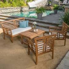 eclectic outdoor furniture. Perfect Eclectic Christopher Knight Home Caydon Outdoor 4piece Acacia Wood Chat Set With  Cushions Intended Eclectic Furniture M