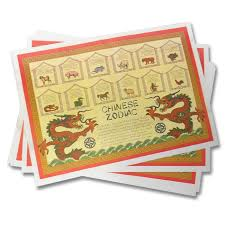 table mats. chinese zodiac place mats (12-pack) table a