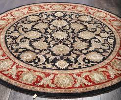full vintage round rug persian heriz serapi navy wool 25012