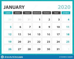 2020 2020 Weekly Planner Desk Calendar Layout Size 8 X 6 Inch January 2020 Calendar