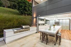 Indoor Outdoor Kitchen Designs Stainless Steel Natural Gass Grill Rock  Countertop And Backsplash Brown Floor Tile Modern Island With Stainless  Steel ... Design