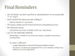 goals and expectations ppt video online  final reminders at l w north we don t use first or second person in