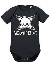 Clothinx Baby Body Unisex Sprüche Milchpirat Weissschwarz Größe 62