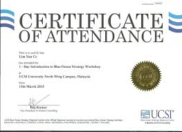 Certificate Of Attendance Internship Ucsi Blue Ocean Strategy