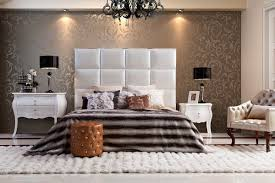 Rectangular High Headboard Design For Medium Size Bed Match With Mottled  Bed Cover And Tetragon Matress