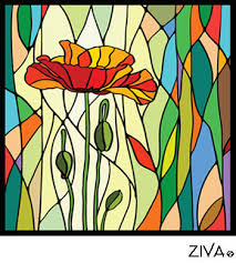 and plus one dynamic early modernist stained glass design called prismatic poppy