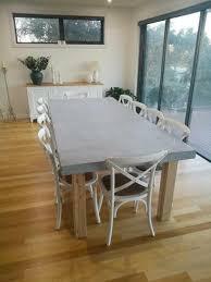 concrete dining table. Concrete Dining Table - Timber Post Legs G