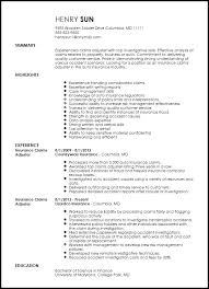 Insurance Claims Representative Sample Resume Fascinating Insurance Adjuster Resume Template