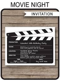 Movie Night Invitation Templates Movie Party Printables Invitations Decorations
