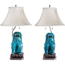 turquoise ceramic asian foo dog lamps circa 1940 for